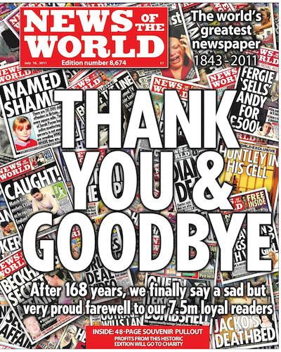 The last front cover of the News of the World